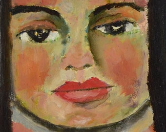 Oil Girl Portrait Painting. Original Mini Canvas Art. Home Wall Decor. Gift for Sister or Friend