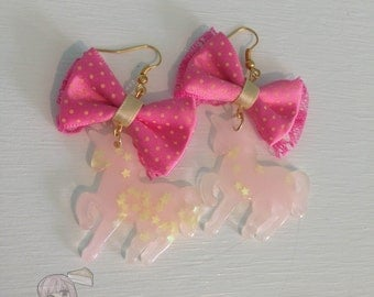 Candy Unicorn With Stars Bow Dangle Earrings