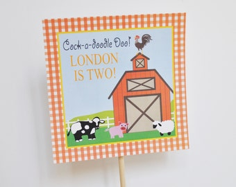 DIGITAL Barnyard Birthday Cake Topper Party Decoration with Red, White Gingham Check and Farm Animals