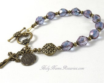 St Benedict Rosary Bracelet Chaplet Single Decade Miraculous Medal Holy Spirit Bronze Purple Blue Czech Bohemian Glass Prayer Beads