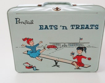 Vintage 1959 Blue  Vinyl Lunchbox Ponytail Eats N Treats Lunchbox