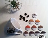 COFFEE Pinback Buttons // Colorful // Mocha PSL Espresso // Pack of 4