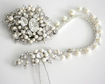 Wedding Headpiece Bridal Hair Accessory Hair Piece with Swarovski Crystal Pearl Hair Chain AMBRIA HP
