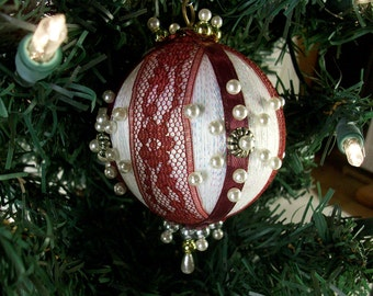 Christmas Ornament with Burgundy Lace, Bead and Pin,  Victorian Style