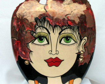 Ceramic FACE Vase AUTUMN LEAVES Handcrafted Etched Decorative