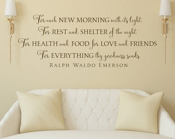 For each new morning with its light - wall decal lettering art Emerson Quote