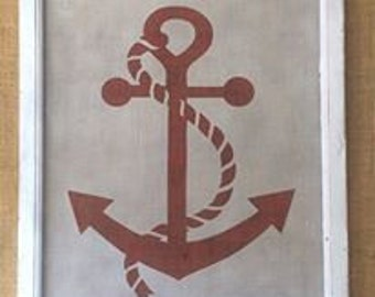 Anchor red and white on reclaimed wood screen - repurposed wall art decor by Old Barn Rescue Company