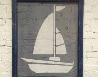 Sailboat navy and white on reclaimed wooden screen - repurpose wall art decor by Old Barn Rescue Company