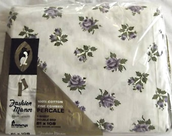 Mint In Package Vintage 60s, 70s Cotton Flat Sheet, Double Bed, White with PURPLE Roses,Bedding,Fabric, Craft, Quilt Sewing Project Material