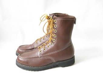 Vintage 70's Brown Leather Lace Up Work Boots. Size 9 1/2 Womens
