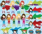 Clip art superhero - girl superhero clipart female superheroes clip art comic book female superhero pow wham zap personal commercial use