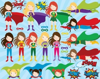 Clip art superhero - girl superhero clipart female superheroes clip art comic book female superhero pow wham zap personal commercial use