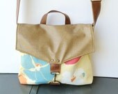 SALE commuter • canvas and leather crossbody bag  • poppy floral canvas - brown leather - tan canvas • small messenger - cross body