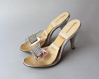 Vintage Unworn Springolators / 1950s Metallic Silver Rhinestone Heels / 50s Lucite and Leather Springolator Shoes