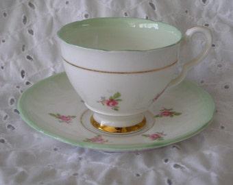 Vintage Royal Stafford Teacup & Saucer ~ Pink Roses Green Cup Plate