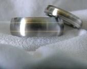 Matching Ring SET, Titanium with Yellow Gold Pinstripe Inlays Wedding Bands