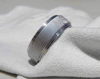 Ring, Titanium Wedding Band, Frosted double stepped edge
