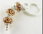 European Style Keychain Car Accessories Leopard Animal Print Lampwork Murano Beads and Tibetan Silver Spacers Key Chain