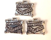 3 Luggage Charms 2 Sided Antique Silver - SC81#ML*