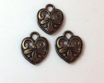 25 Scroll Flower Filigree Heart Charms Antique Bronze - BC5#GL
