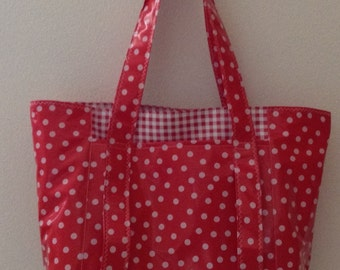 Beth's White on Red Dot Oilcloth Multi Market Tote Bag