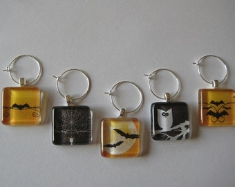 Fun Halloween Glass Tile Wine Charms Set of 5