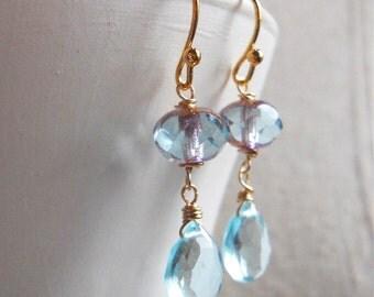 Czech, Please, earrings, Czech Glass and Gemstone Earring, Aqua Quartz earrings, light blue earrings, gift idea, dangle earrings