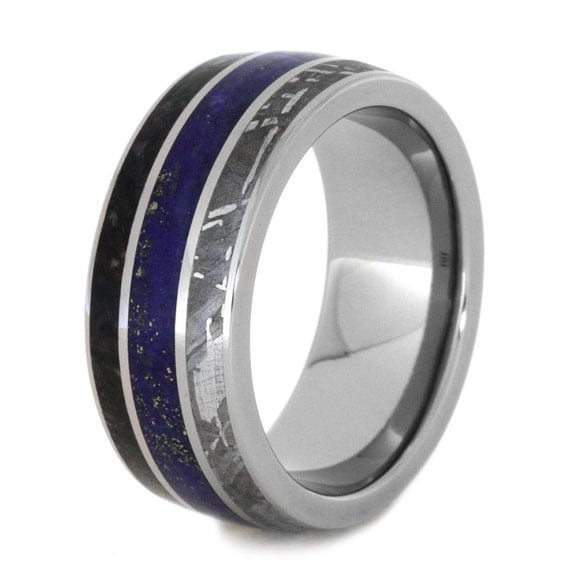 Titanium Wedding Band With Lapis Lazuli By Jewelrybyjohan
