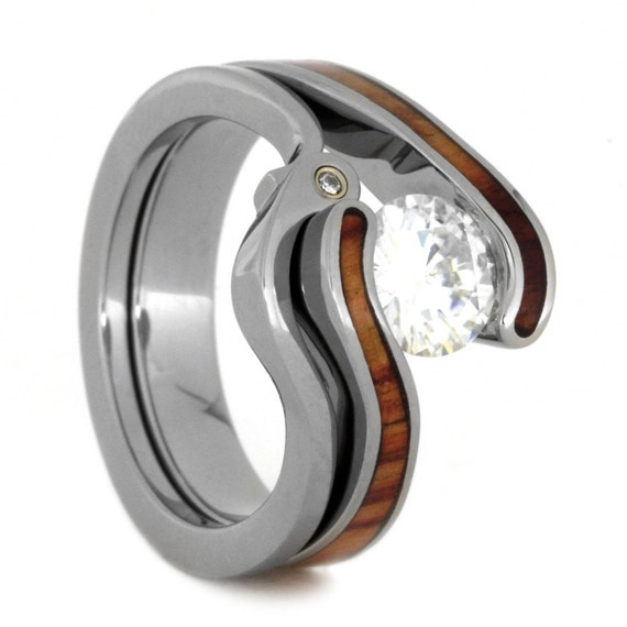 Womens Wedding Ring Set Tension Set Moissanite By Jewelrybyjohan