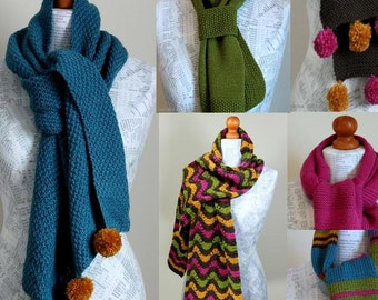 INSTANT DOWNLOAD PDF  Knitting Pattern  Six Simple Scarf Patterns  Easy Scarves Knitting Course