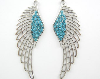 Pair of Rhinestone Cut-out Wing Charms Blue Turquoise Rhinestones Silver-tone