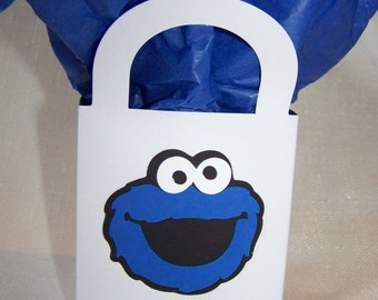 Set of 12 Cookie Monster party treat goody bags 3 in. x 3 in. x 2.25 in. favor bags