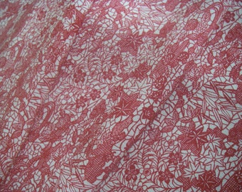 Vintage silk Japanese kimono fabric (red flower)