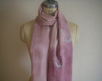 Japanese Vintage Silk Obi or Scarf(pink flower)