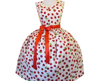 Summer sale Dress Rockabilly Diva Styled Cupcake with Red Bow Custom in your size and measurements