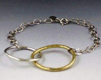 Organic Circles Mixed Metal Bracelet, brass and silver, circles bracelet, boho, bohemian, circle link bracelet
