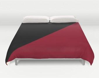Black Burgundy Duvet Cover, Modern Duvet Cover, Made to Order, Black Dark Red Bedding, Decorative Bedding, Contemporary,Graphic Design Decor