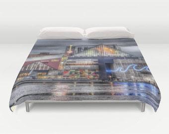 Baltimore Duvet Cover, Decorative bedding, unique design, modern, urban comforter cover, Inner Harbor bedding, city landscape bedding, dorm