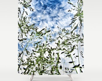Grass and Sky Shower Curtain, Grass Bathroom, Nature Shower Curtain, Cloudy Sky Shower Curtain, Nature Home Decor, Whimsical, Green Blue