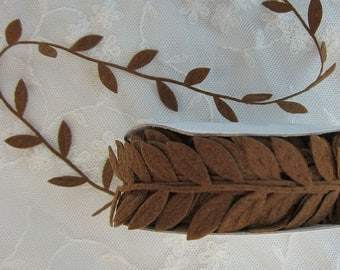 3yds BROWN Fabric Leaf  Vine Ribbon Trim  Scrapbooking Quilts Clothing  Bridal Hair Accessory