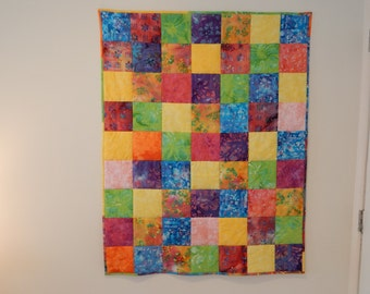 Batik Quilt, Baby Quilt or Wall Hanging
