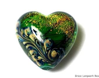Handmade Glass Lampwork Bead - 11836305 Herbal Garden Shimmer Heart