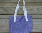 Lilac Purple Eco Friendly Market Tote with White Handles Silky Parachute Ripstop