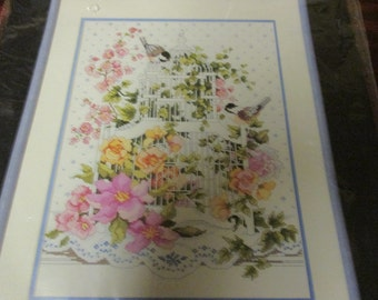Sealed Kit Blossoming Bird Cage Bucilla 40510 Counted Cross Stitch Kit Complete and Ready to Create