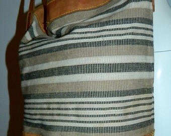 vintage 1980s leather bucket bag / striped Kilim weave / oversized UNISA purse