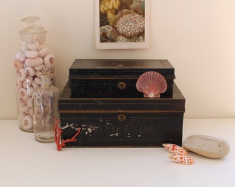 Pair Antique Black and Gilt Bank Boxes for Storage