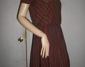 Sweet true VINTAGE 60s brown stripe dress M L 38 40 bust