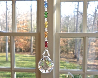 "Swarovski Car Ornament, Prism, 20mm (3/4"") Crystal Ball with Chakra-Colored Beaded Strand, Car Charm for Rearview Mirror - ""LITTLE HARMONY"""