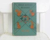 Vintage Child Book Reader School We Play Activity Orange Green