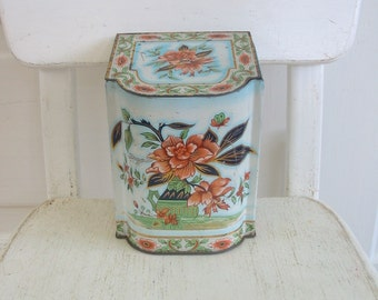 Vintage Metal Tin Box Flowers Biscuit Candy Confections Shabby Cottage Chic Orange England